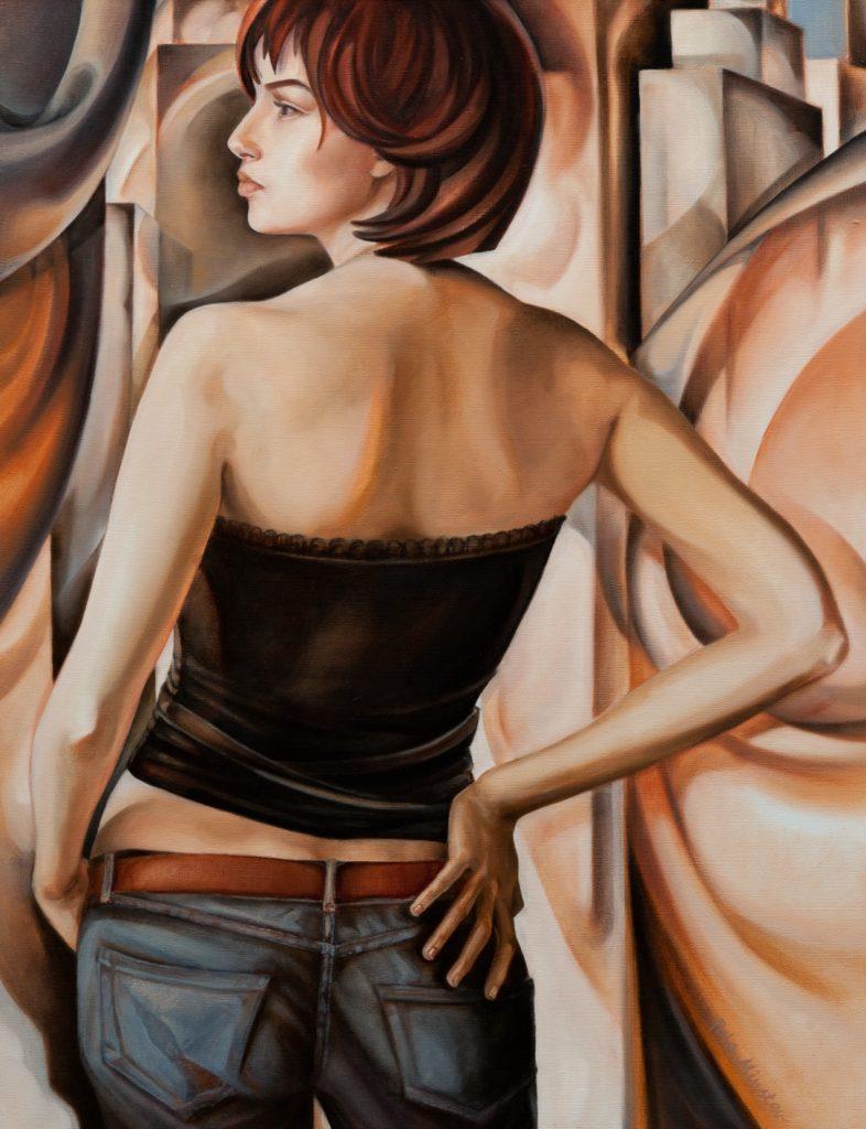 Pola Minster (Marzena Naliwajko)Kobieta w wielkim mieście, 2011rok 70x90 olej, płótno, Własność prywatna