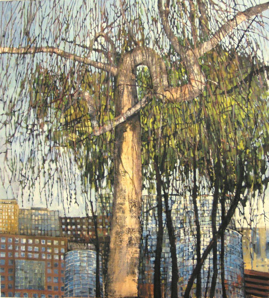 Aleksandra Rej, Wierzba, olej, akryl, płótno, 120 x 110 cm, 2005 r. wł. autora