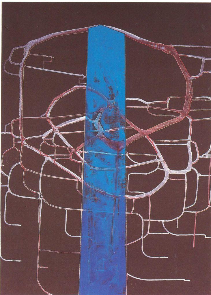 Tadeusz Nowotarski Totemenhir - Postać 2122 - błękitny Chrystus - 1996 - olej - 70 x 100