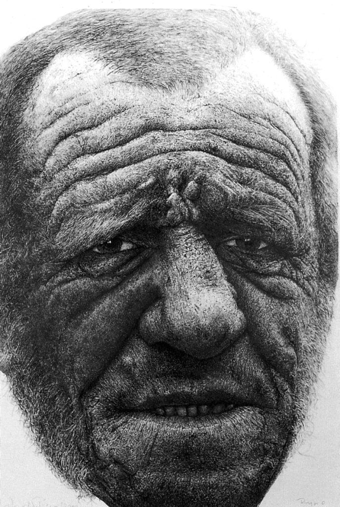 Portret Ryszarda Chrzanowskiego, tusz, karton 88 x 60 cm, 2000, wł. autora