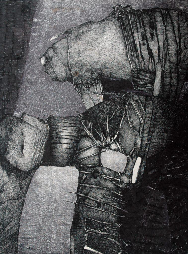 Exploracje I, tusz, karton, 76 x 58 cm, 1985, z kolekcji Barbary i Leszka Ledwoniów